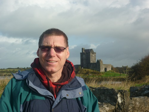 Man at a castle in Ireland
