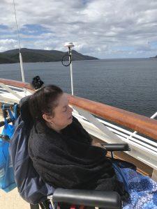 wheelchair enjoying her cruise